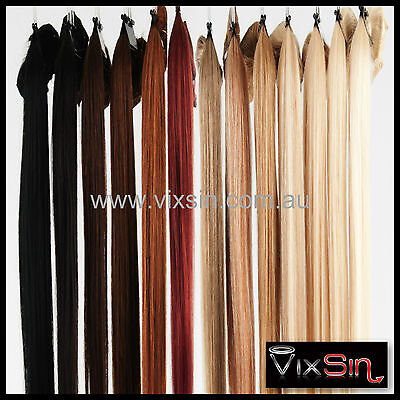 """CLIP IN REMY HUMAN HAIR EXTENSIONS Brown Blonde Black 20"""" 70g 1/2 Head Set"""