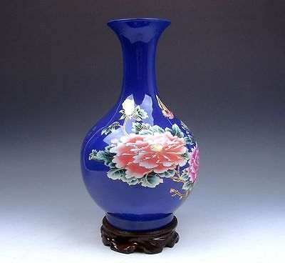 *Ship From U.S* Blue Gold Gilt Famille-Rose Flower Butterfly Hand Painted Vase