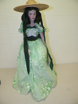 FRANKLIN MINT GONE WITH THE WIND SCARLETT O'HARA DOLL GREEN DRESS WITH HAT USED