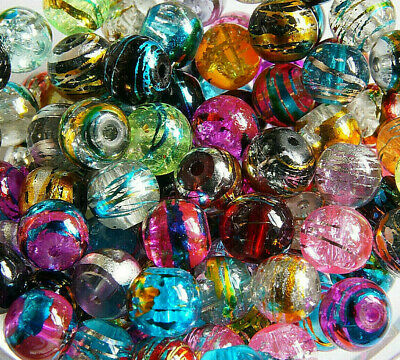 50 x  MULTICOLOUR~ROUND~DRAWBENCH ~CRACKLE~GLASS BEADS, 8 MM