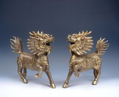 *Ship From U.S* Pair Large Sculptures Brass Crafted Gold Gilt Walking Kylin