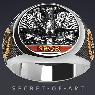 Imperial Roman Eagle Ring SPQR Silver 925 with 24K-Gold-Plated Parts