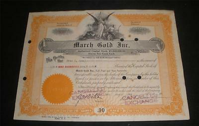 March Gold Inc. Stock Certificate 1922 nice condition