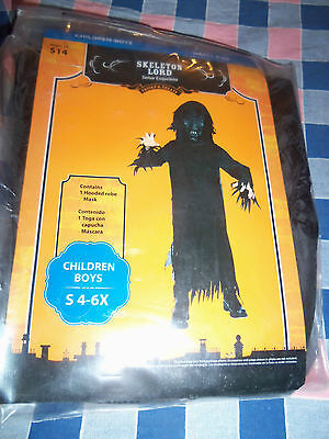 New  (Package Wear) Boys Skeleton lord Halloween Costume Small 4-6X Mask Robe