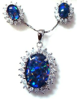 Natural Opal Pendant With Earring Jewerly Gift Box! 925 Sterling Silver Set