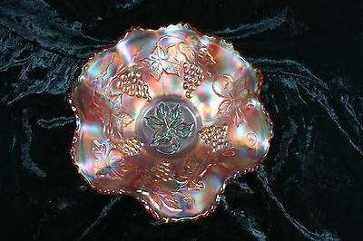 """Antique Vintage Pattern Carnival Glass Ruffle Bowl Candy Dish 7"""" Marigold"""