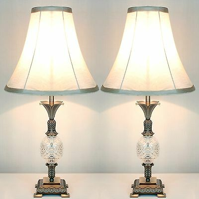 PAIR of Traditional Antique Style Table Bedside LAMPS