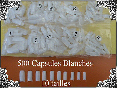 500 CAPSULES FAUX ONGLES TIPS NAIL ART BLANCHES FRENCH GEL UV Manucure PRO