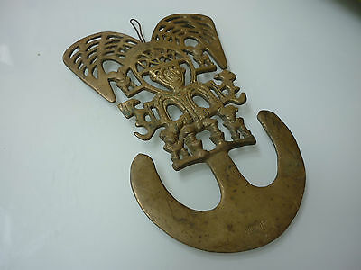 "Antique Vintage 10"" Wall Plaque Tribal Decoration Decor - Solid Brass - M1-11"