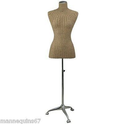 Mannequin Buste Femme Vetement Couture Raphia Design Decoration Magasin