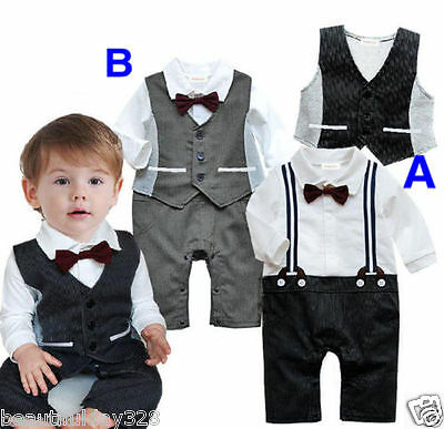 Baby Boy Bodysuit Christening Wedding Birthday Party Formal Bow Tie Outfit