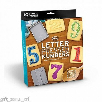 Fred 10 x LETTER PRESSED NUMBERS Cookie Cutters STAMPERS 0-9