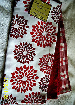Gourmet Collection 3 Kitchen Towels Set~Floral/Plaid~Red-White~New