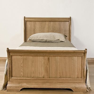 Marseille solid french oak furniture 3' single bedroom sleigh bed