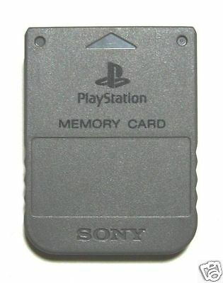 Playstation 1 Memory Card Ps1 Mb Official Sony In Grey Mint Save Ps2 1 Meg Psx