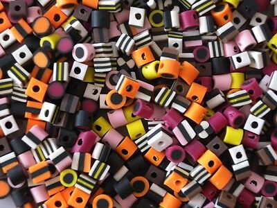Bulk 140 Mixed Small Fimo Polymer Liquorice Allsorts Beads - Limited Quantity