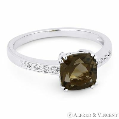 1.41ct Cushion Cut Smoky Topaz Round Diamond Right Hand Ring in 14k White Gold
