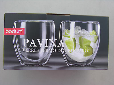 2 Bodum Pavina Cappuccino Glasses Double Wall 8 oz Free  Shipping US Only