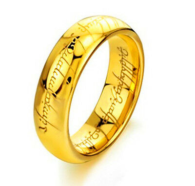 TUNGSTEN LORD OF THE RINGS FREE SHIP FROM UK mens wedding ring  gold plated