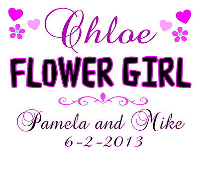 FLOWER GIRL T-SHIRT Personalized Customized Wedding Gift Any Name & Info Printed