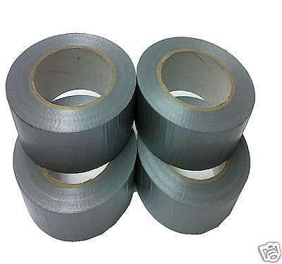 4 Rolls Gaffer Gaffa Duck Duct Tape Silver/Grey 5Om X 48Mm Waterproof Cloth Tank