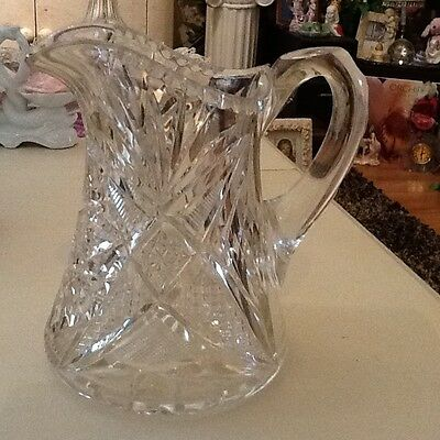 ANTIQUE VICTORIAN AMERICAN BRILLIANT CUT GRANDMOTHERS MILK PITCHER ELEGANT WOW