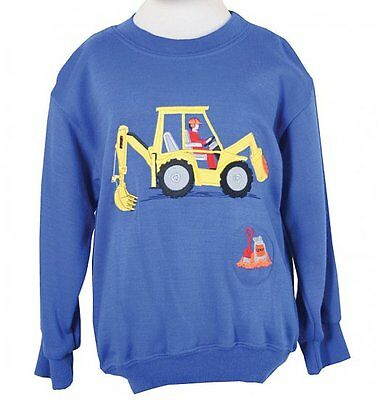 Childrens/embroidered/Royal Blue/Digger/tunic/sound effect/Sweatshirt/New