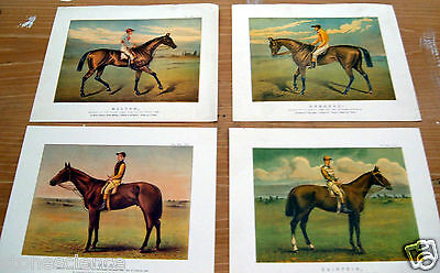 4 ChromolithographsVintage Antique Famous Racehorses Horse Racing RARE Jocky