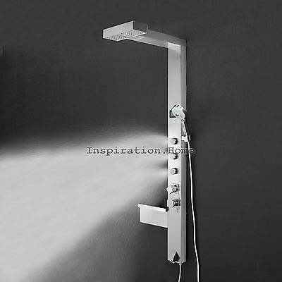 Stainless steel shower tower thermostatic and adjustable massage jets