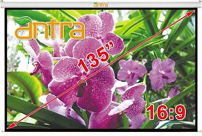 """Antra® 135"""" 16:9 Electric Motorized Projector Projection Screen Remote MattWhite"""