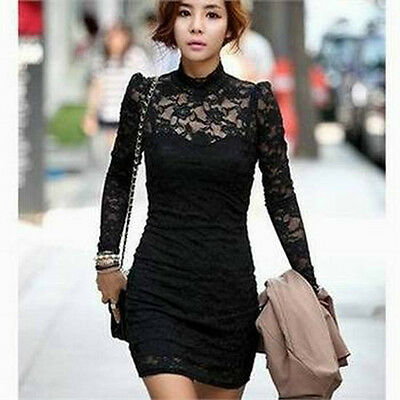 Sexy Women's Long Sleeve Neck Clubwear Business Party Cocktail Lace Mini Dress