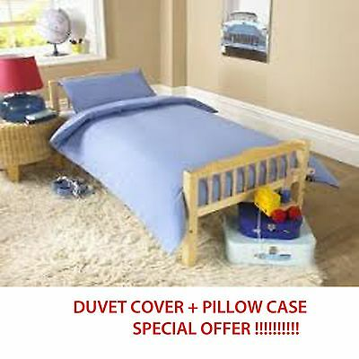 BRAND NEW BABY COT DUVET COVER WITH PILLOWCASE 100cm x 120cm BLUE