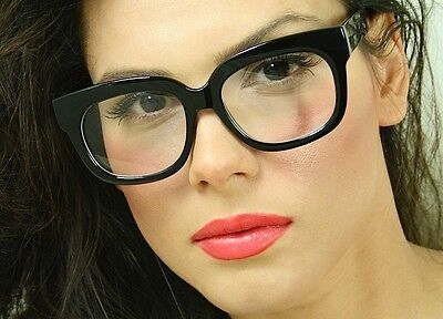 4a6dbee2dbf Square Oversized Clear Lenses Large Thick Black Frame Women Eyeglasses  Glasses