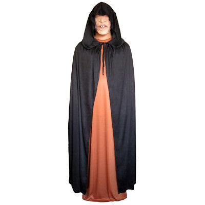 Black Cloak with Large Hood ~ HALLOWEEN VAMPIRE GOTHIC MEDIEVAL COSTUME CAPE