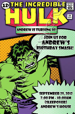 Hulk Birthday party favors book Avengers comic Invitations incredible