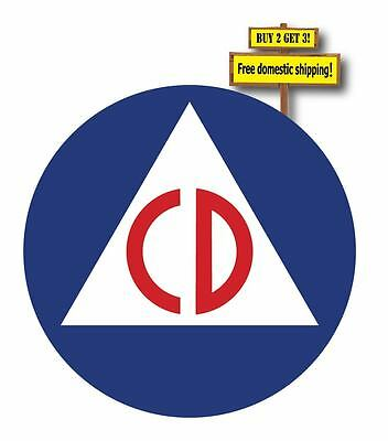 """CIVIL DEFENSE LOGO STICKER/DECAL 3.25""""X3.25"""" CD PROTECTION BUY 2 GET 3 p49"""