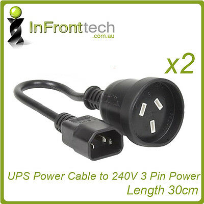 2x UPS to PC IEC C14 3-Pin Aus Power Cable Cord Lead 30cm