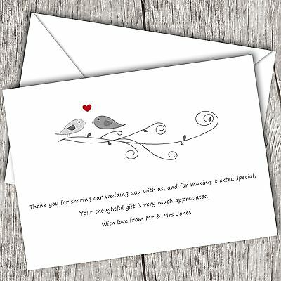 Personalised WEDDING Thank You Cards (Postcards) ~ Fast Post ~ Lovebirds