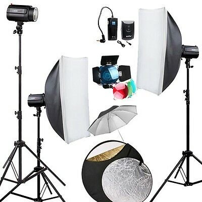 GODOX 360Ws 3* 120W Pro Photo Studio Strobe Photo Flash Light stand Softbox  kit