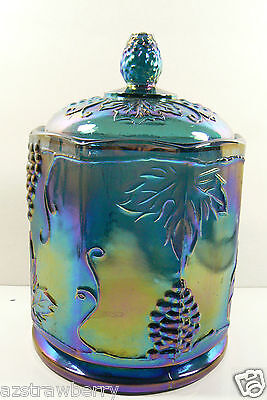 """Indiana Carnival Glass Harvest Iridescent Grape Canister Jar With Lid 7"""" Tall"""