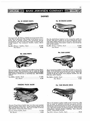1957 Ad Bicycle Saddles Seats, Persons Track Racer, Two Tone, Mesinger Tops