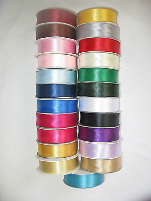 50m Full reel double sided satin ribbon 3mm 10mm 16mm 25mm lots of colours