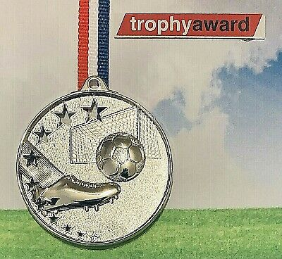 Football Silver Star Metal Medal With FREE RIBBON + FREE ENGRAVING + FREE P&P