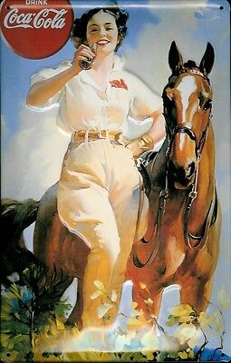 "COCA-COLA GIRL WITH HORSE 8"" X 12"" METAL EMBOSSED SIGN"