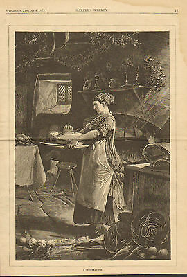Christmas Pie Ready Kitchen Rustic Home View Vintage 1879 Antique Art Print