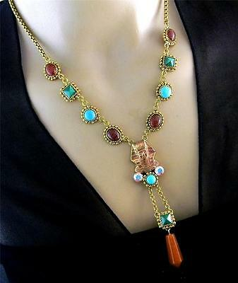 Vintage Egyptian Revival Pharaoh Gemstones Necklace