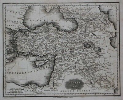 Original 1834 Map TURKEY IN ASIA Constantinople Aleppo Damascus Israel Palestine