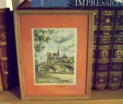 20th C FRENCH PEN INK AND WATERCOLOR WASH PAINTING ORIGINAL ARTIST SIGNED 1954