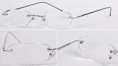 L47 Superb Quality Rimless Reading Glasses/Spring Hinges & Aluminum Alloy Arms