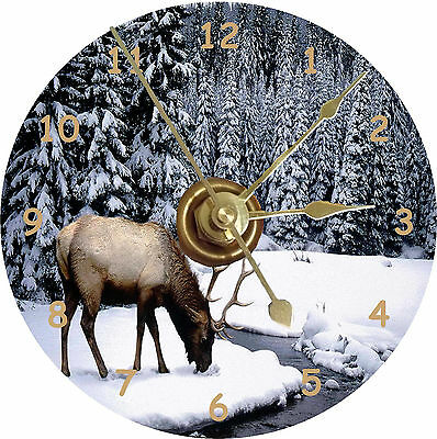 NEW Elk Drinking CD Clock